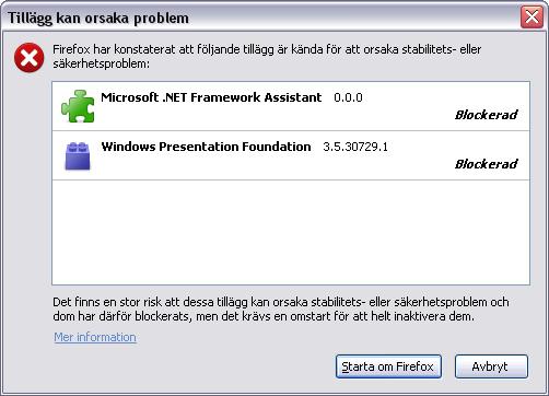 Firefox blockar Microsoft add-ons